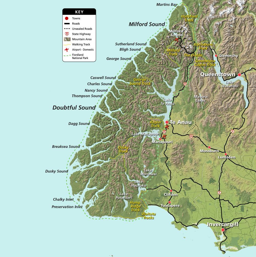 Carte Fjordland